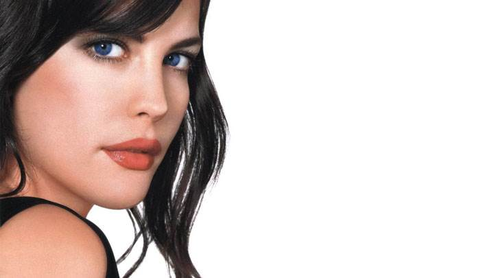 Liv Tyler Red Lips And Blue Eyes Side Face Closeup And White Background